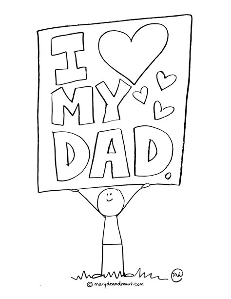father day printable coloring page marydean draws