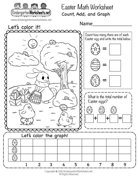 free easter math worksheet kindergarten count add graph