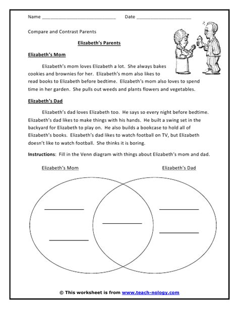 click print compare contrast worksheets