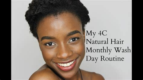4c natural hair full monthly wash day routine