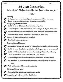 5th grade common core checklist social studies common