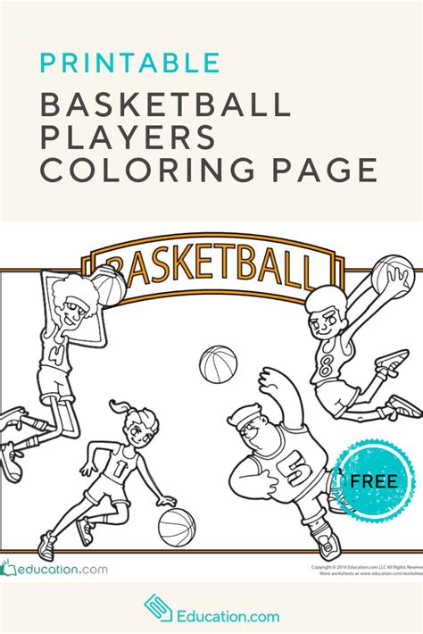 basketball players coloring page coloring pages elementary activities