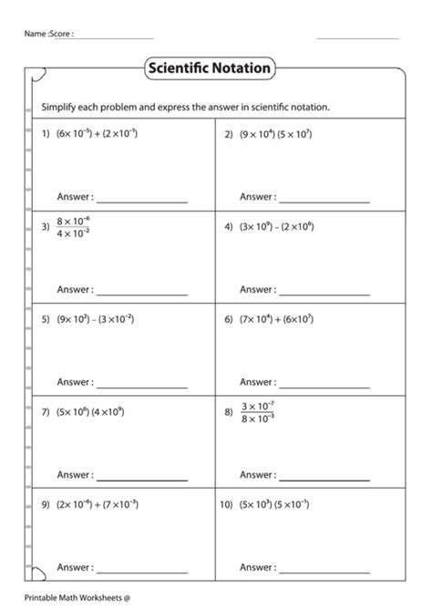 simplifying expressions scientific notation worksheet answer key printable