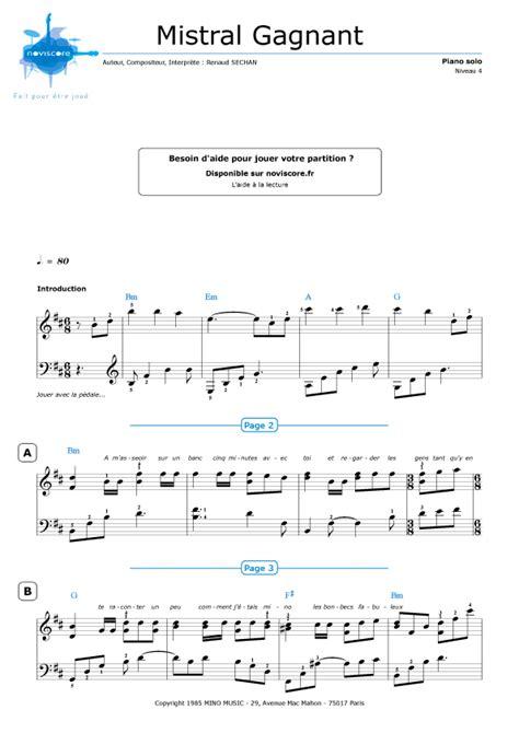 partition piano coeur de pirate mistral gagnant