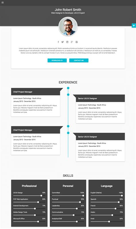18 html resume templates awesome personal websites 2018