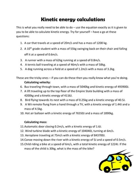kinetic energy calculation questions pinkhelen teaching resources tes