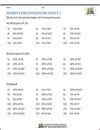 uk percentage worksheets