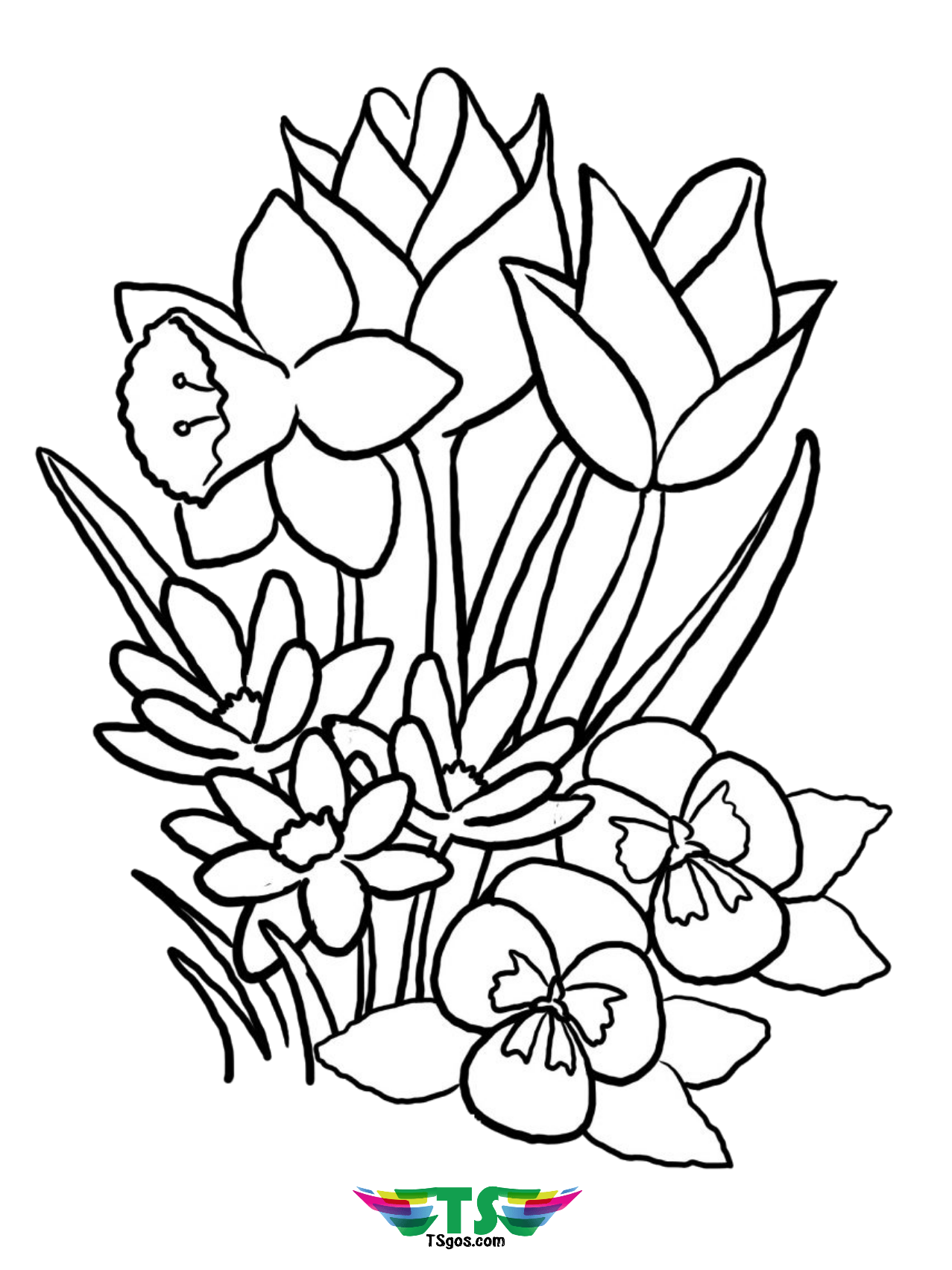 Free Download To Print Beautiful Spring Flower Coloring