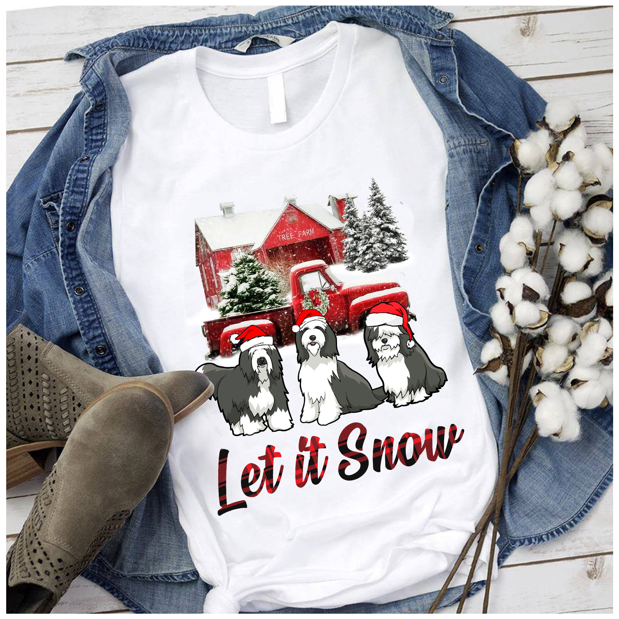 Let It Snow Bearded Collie Christmas T shirt