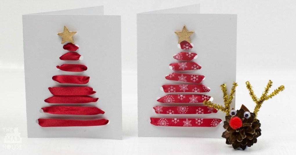 Threaded Ribbon Christmas Cards facebook