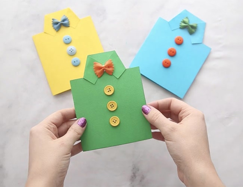 Fathers-Day-Shirt-Card-with-Bow-Tie-Noodles-fantastic-DIY-fathers-day-cards
