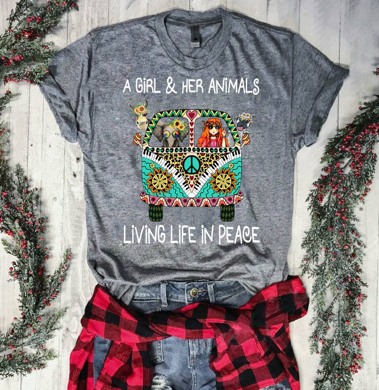Hippie Girl Shirt A Girl And Her Animal Living Life In Peace