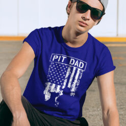 Pitbull Dad Shirt Pit Dad American Flag Black