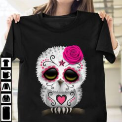Beautiful Owl Shirt Rose Bow Flowers Star And Heart