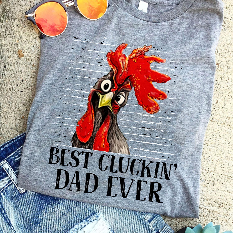 Best Cluckin Dad Ever Shirt Vintage Rooster