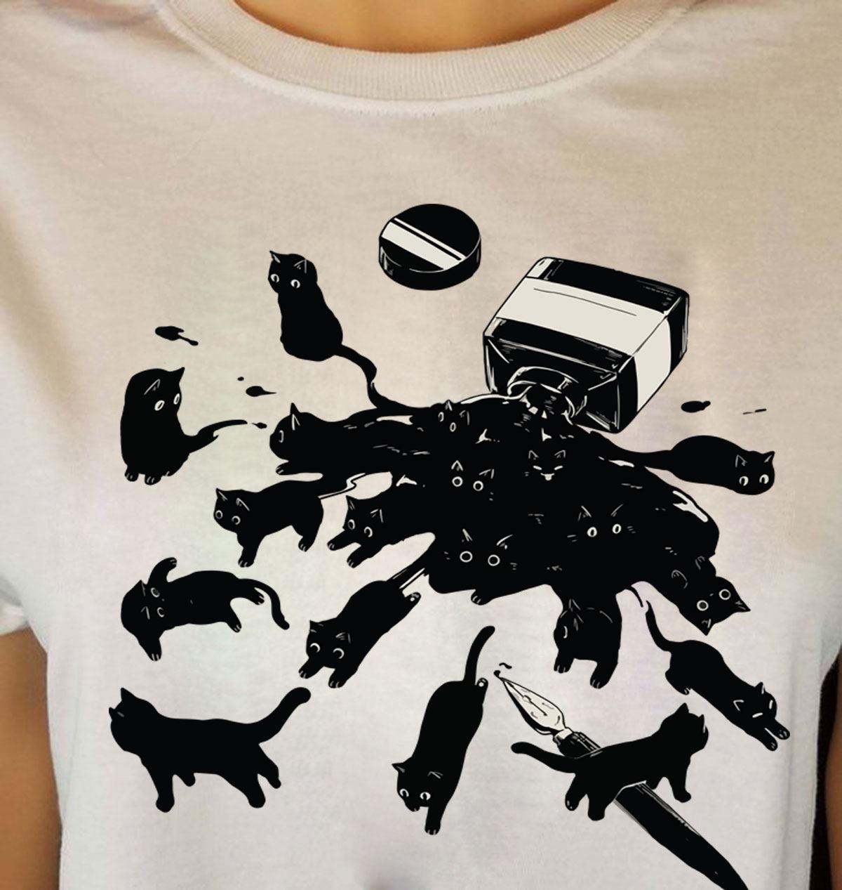 Black Cat Shirt Ink Bottle Spilled Cats