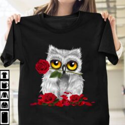 Cute Owl Shirt Owl Keeping Roses