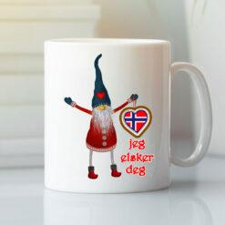 Norwegian Mug Jeg Elsker Deg I Love You Nisse Heart
