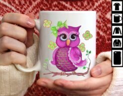 Purple Owl Mug Owl In Branch And Flowers