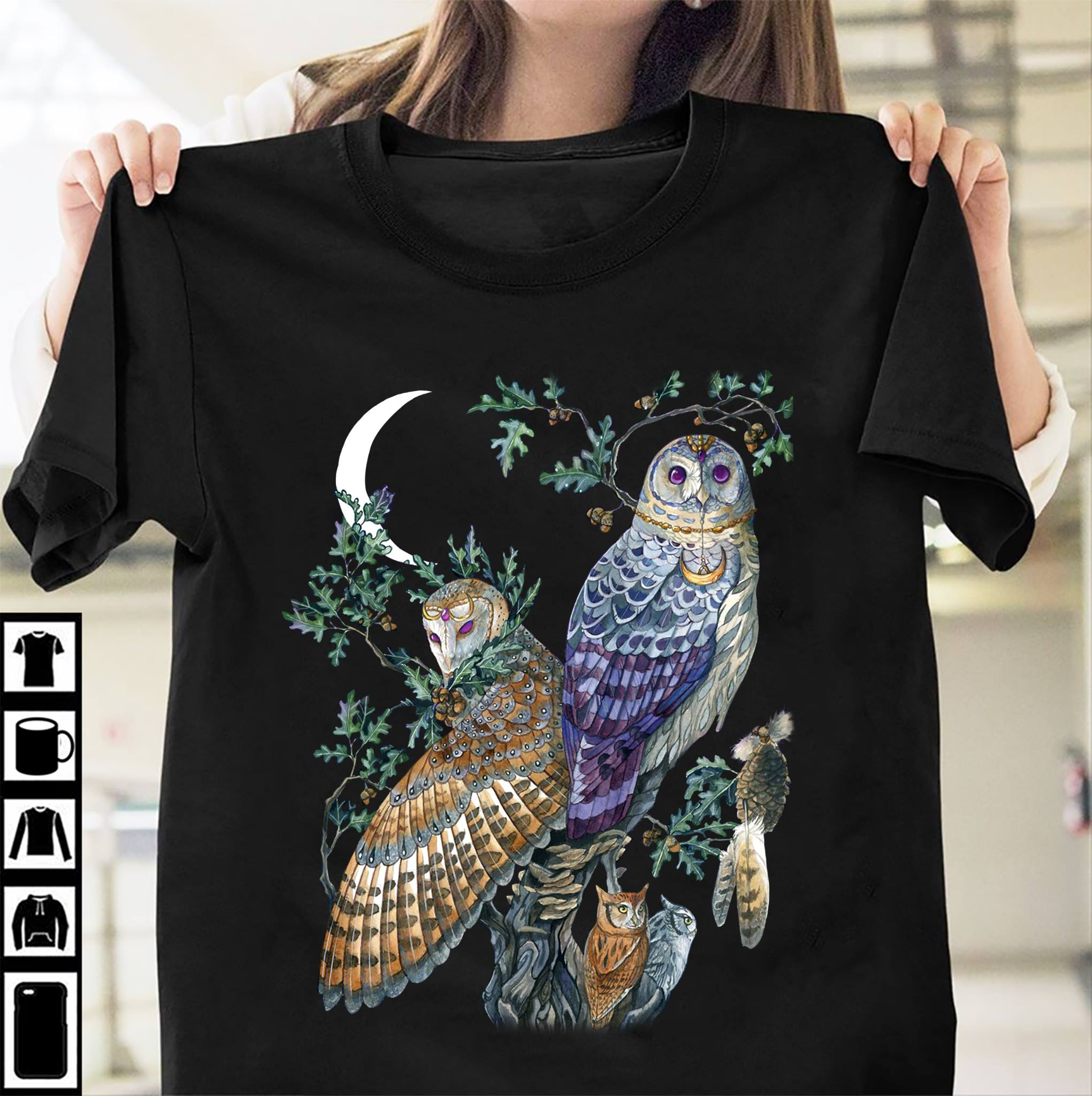 Owl Shirt Beautiful Owls On The Branch Crescent Moon