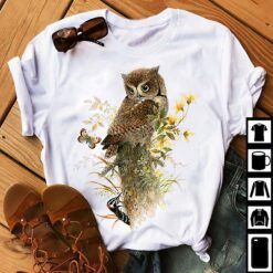 Owl Shirt Eastern Screech Owl On The Branch Yellow Flowers