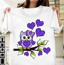 Owl Shirt Owl Pink Bow On The Branch Blue Heart