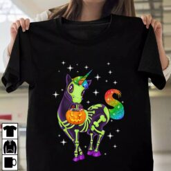 Skeleton Unicorn Shirt Pumkin Halloween