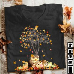 Thanksgiving Family Owl Shirt Under The Maple Tree