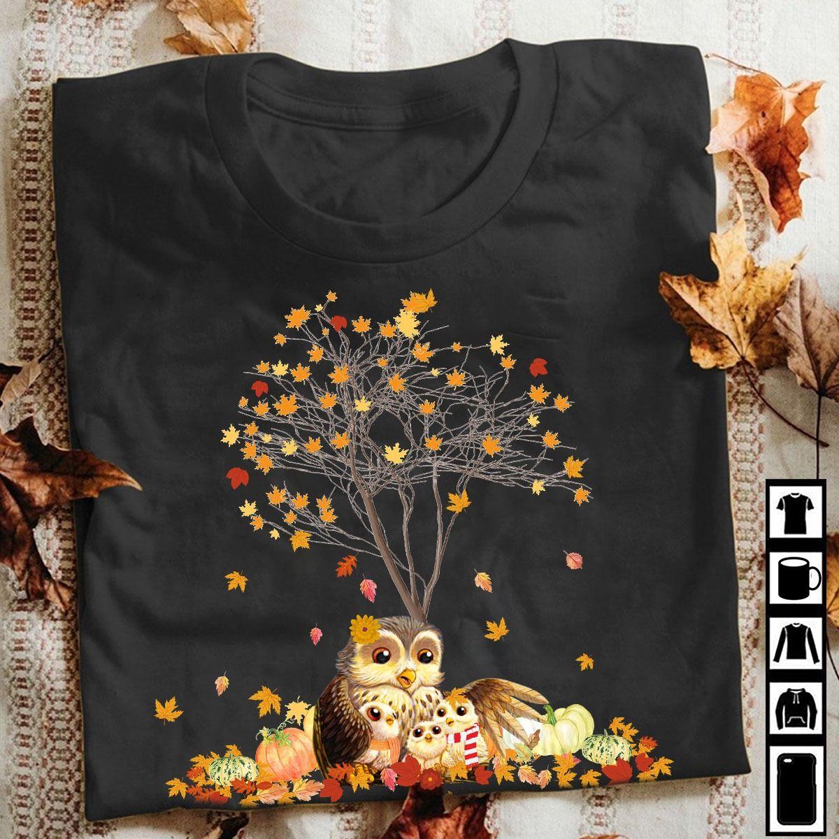 Thanksgiving Family Owl Shirt Under The Maple Tree