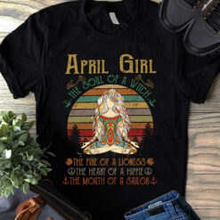 Vintage Yoga April Girl Shirt The Soul Of A Witch