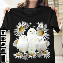 Cute White Owl Shirt Daisy Butterfly