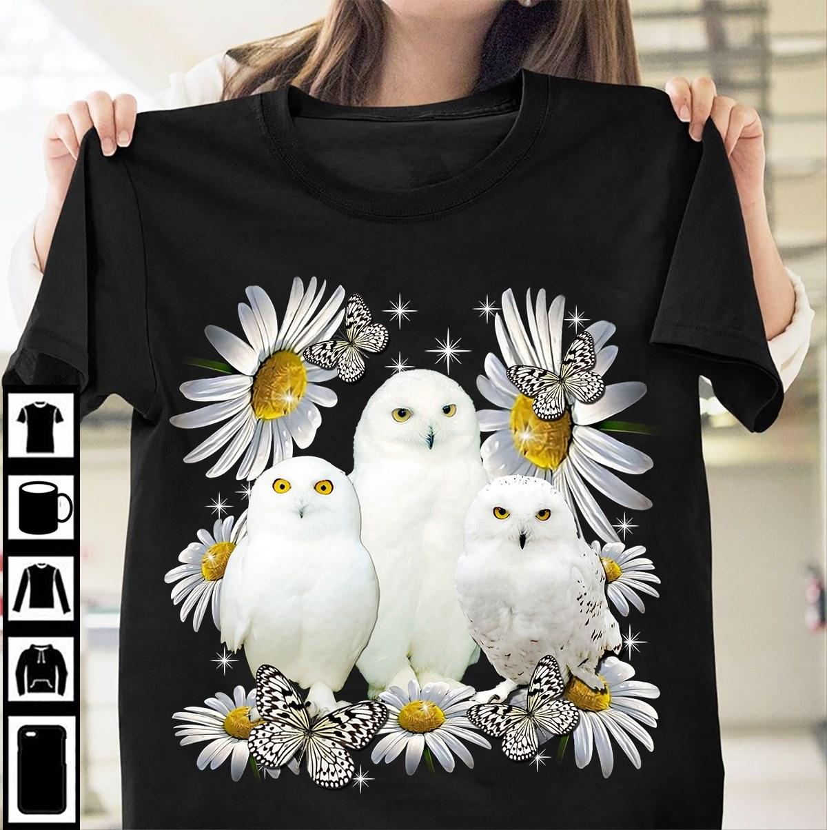 Cute White Owl Shirt Daisy Butterfly