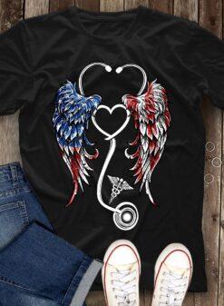 Angel Nurse Shirt Stethoscope Wings