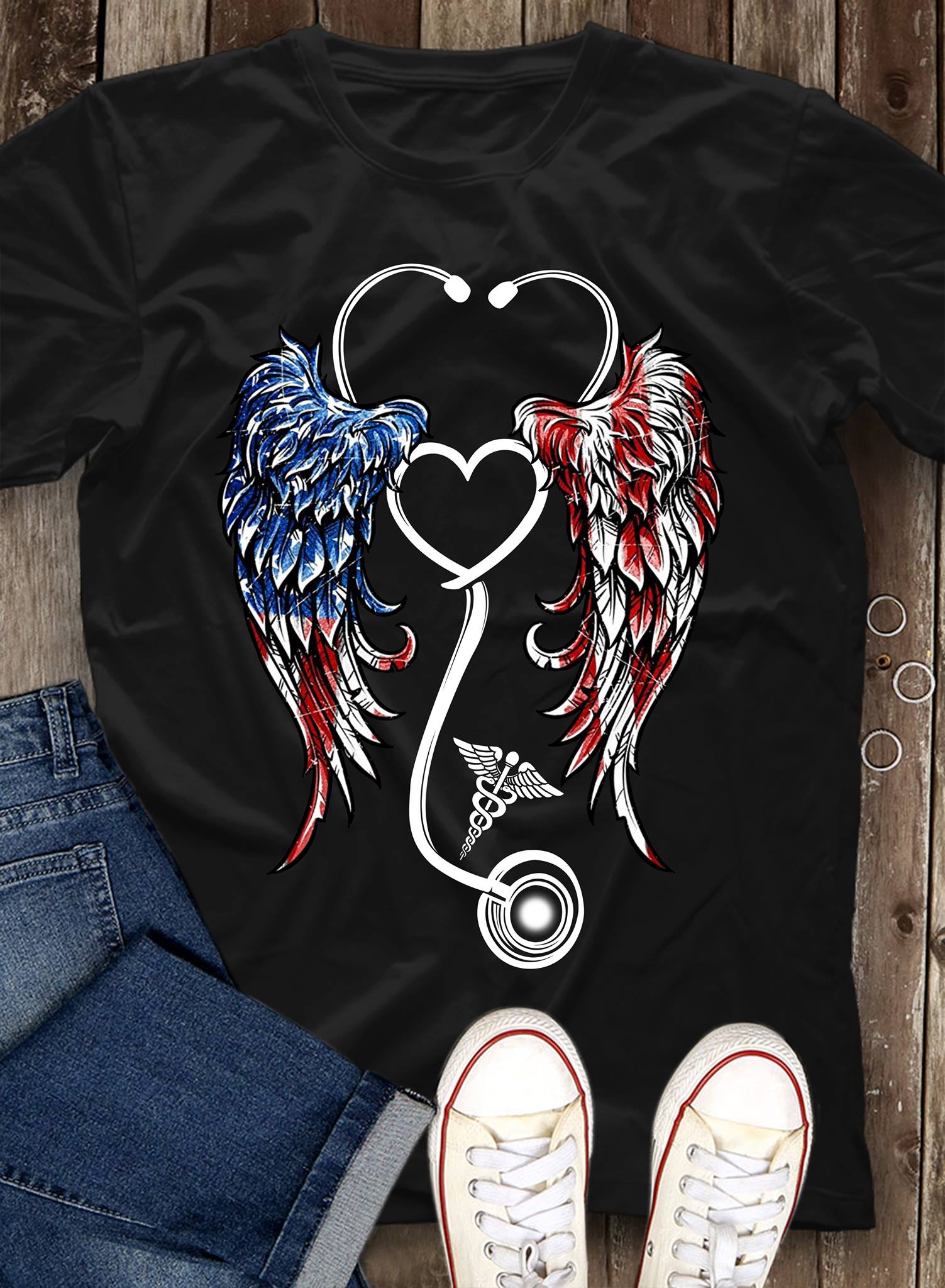 Angel Nurse Shirt Stethoscope Wings