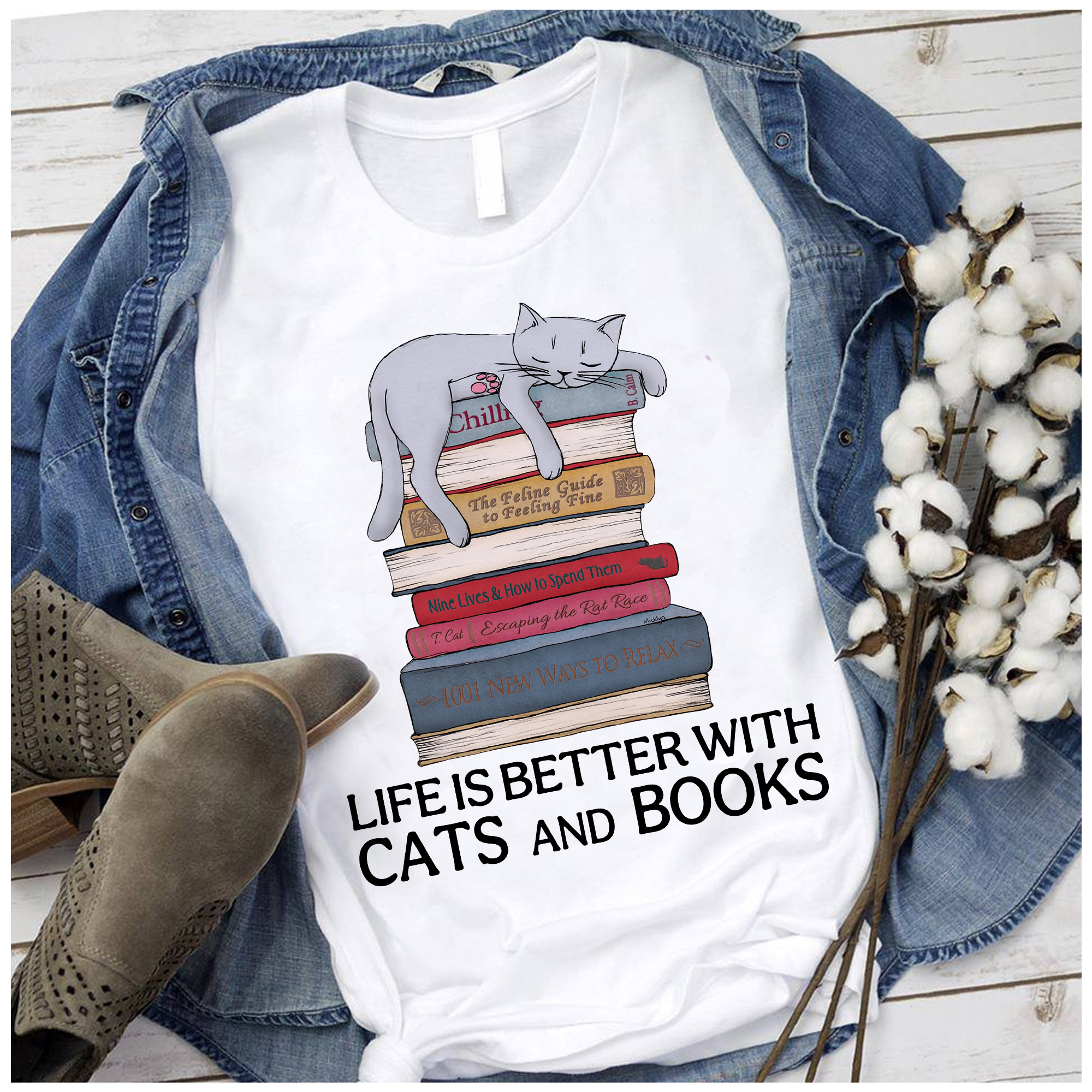 Cat Book Shirt Life Is Better With Cats And Books