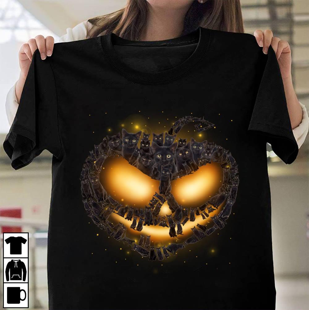 Cat Shirt Black Cat Pumpkin Halloween