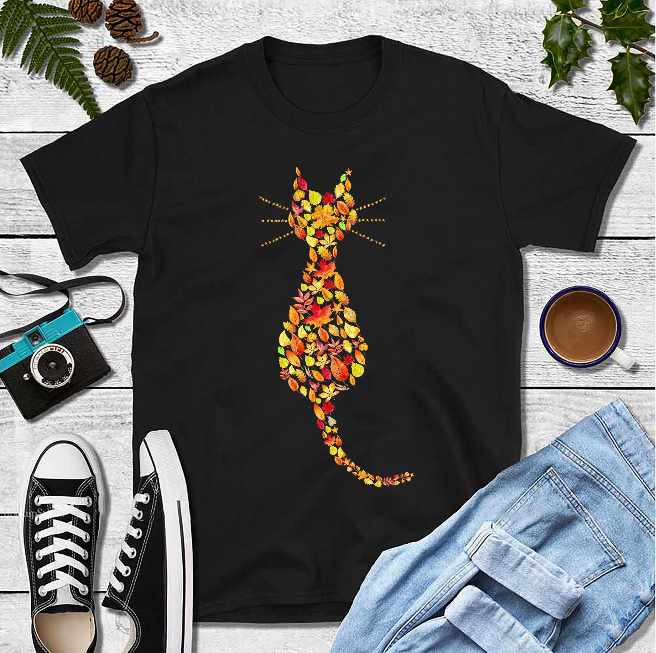 Cat Shirt Cat Autumn Leaves