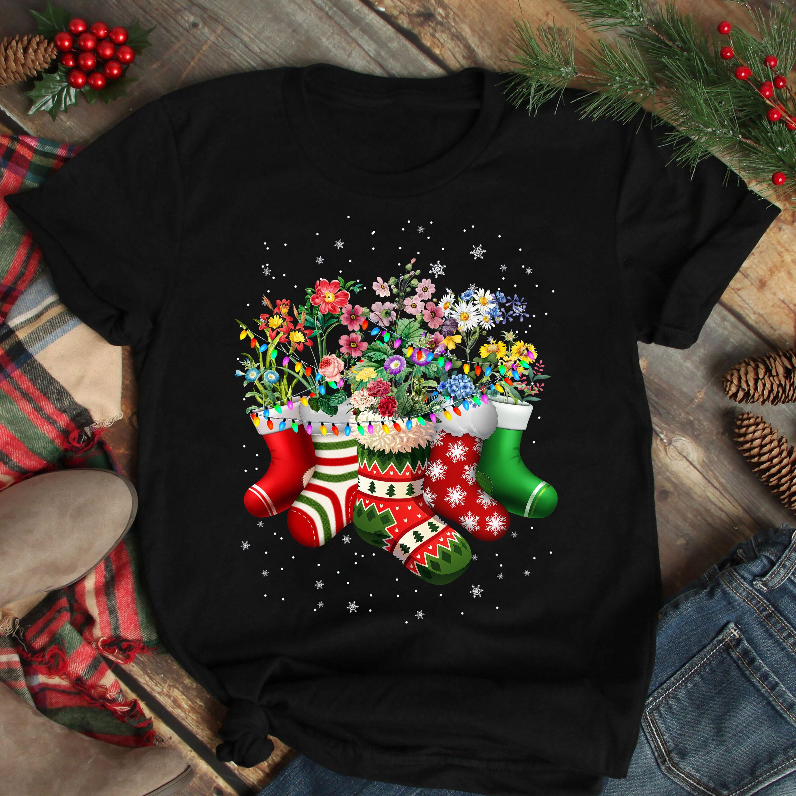 Christmas Gardening Shirt Flower Socks