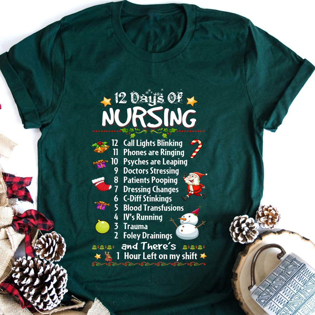 Christmas Nurse Shirt The 12 Days Of Nursing Call Lights
