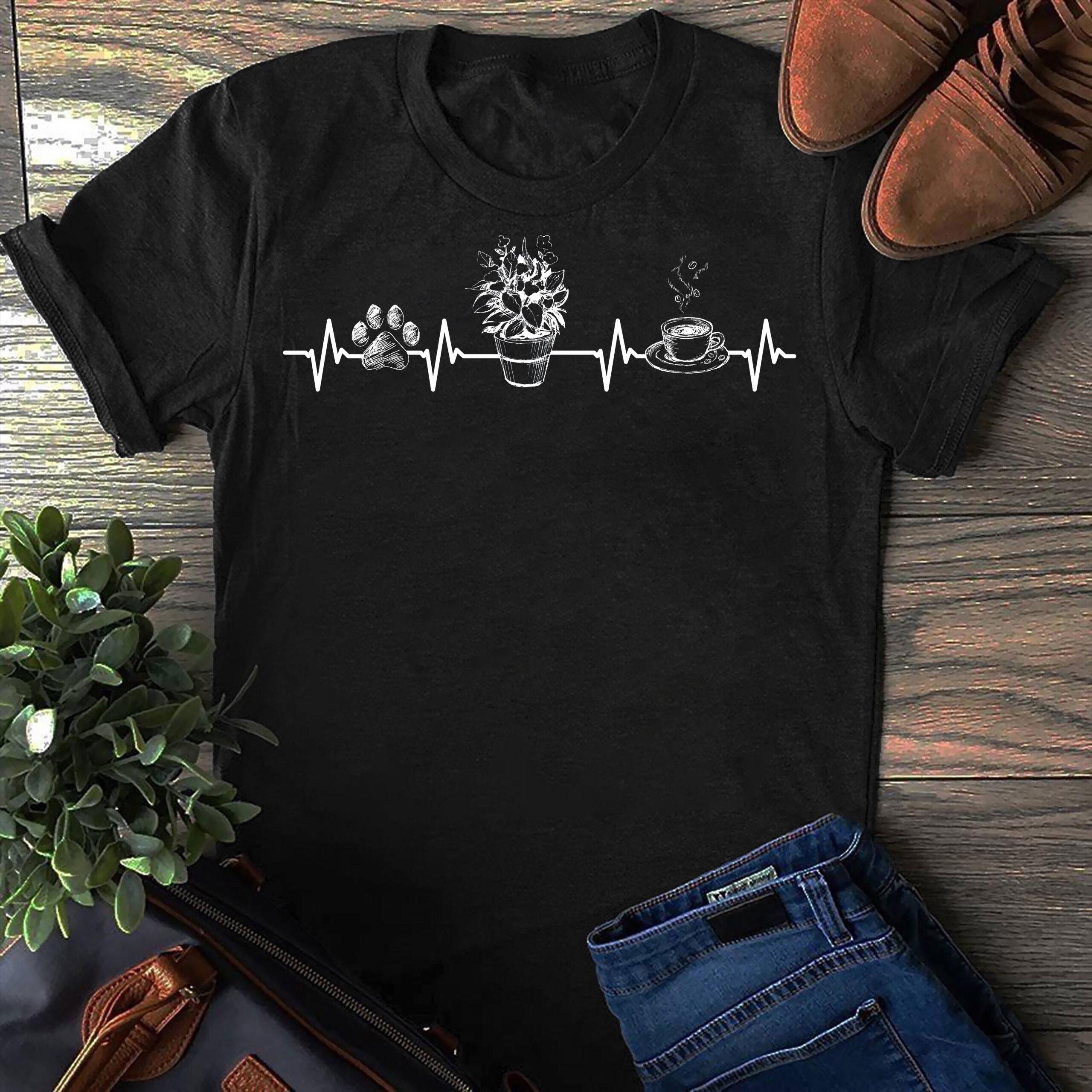Garden Shirt Dog Paw Flowerpot Coffee Heartbeat