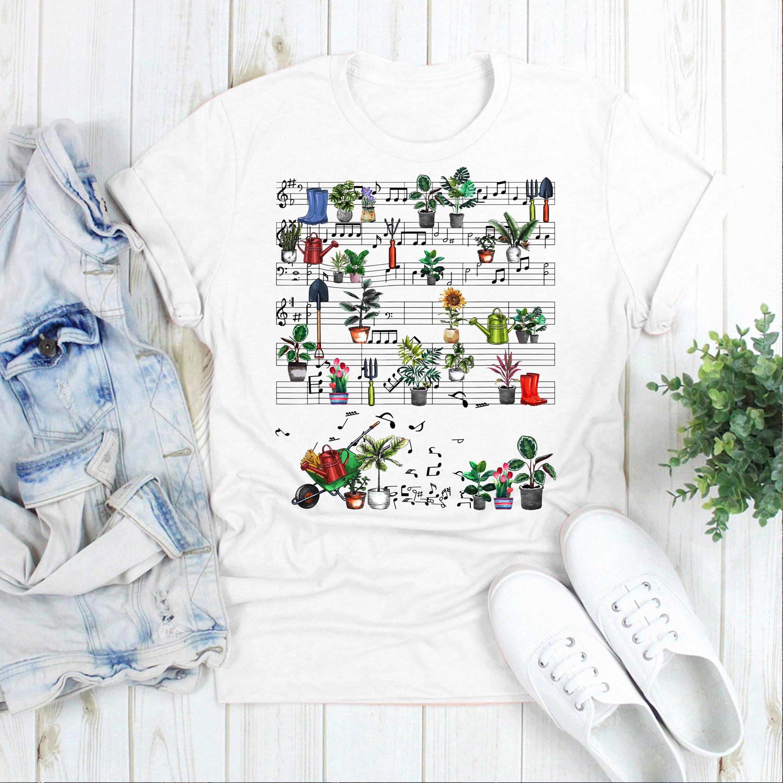Garden Shirt Plants Music Notes