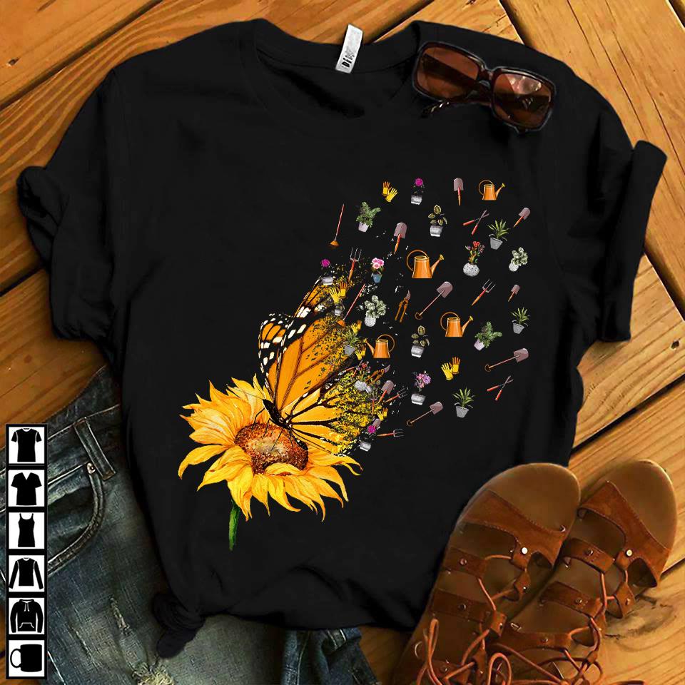 Garden Shirt Sunflower Butterfly Gardening Tools Fly
