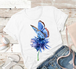 Garden Shirt Watercolor Blue Butterfly Painting