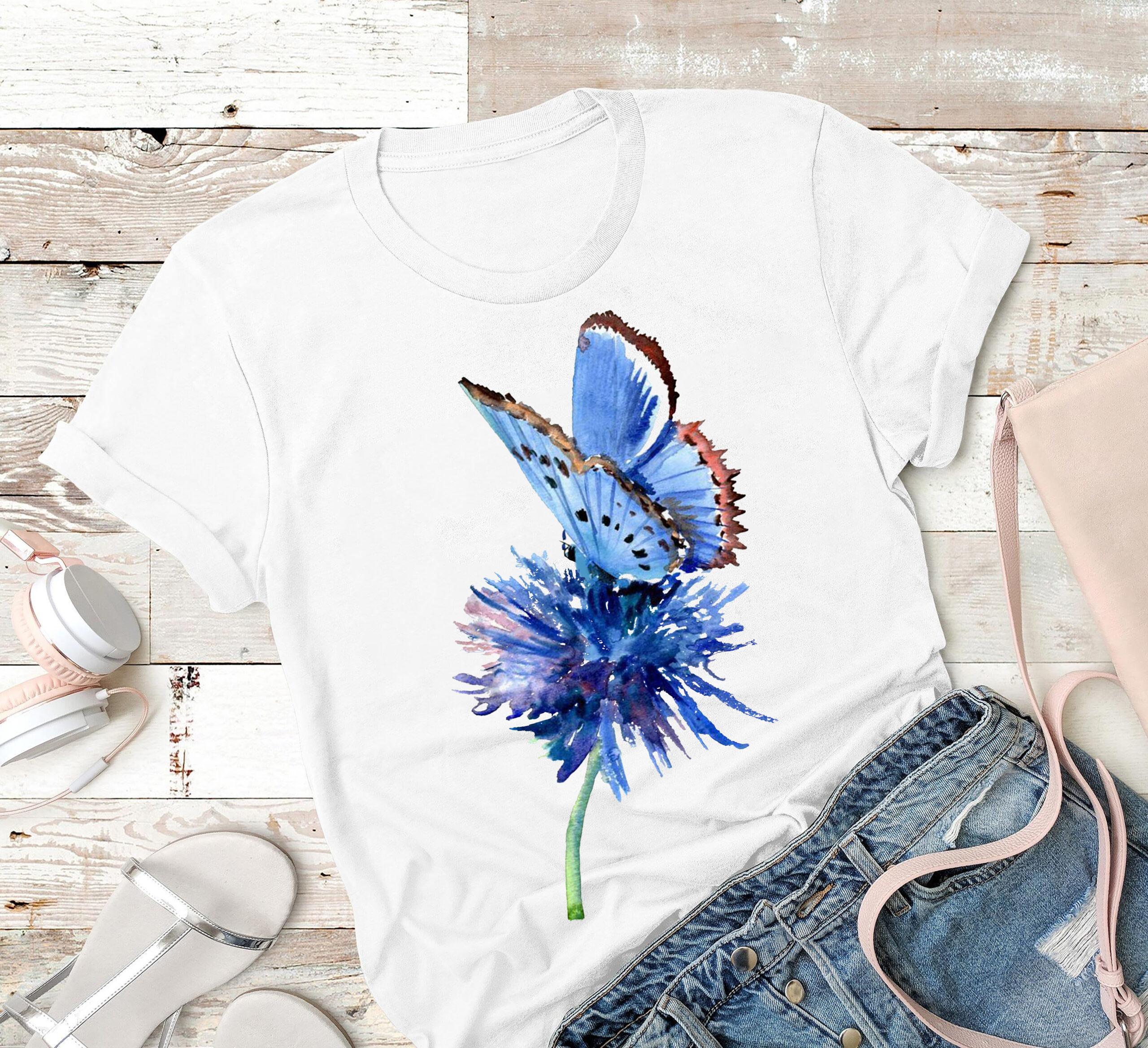 Garden Shirt Watercolor Blue Butterfly Painting