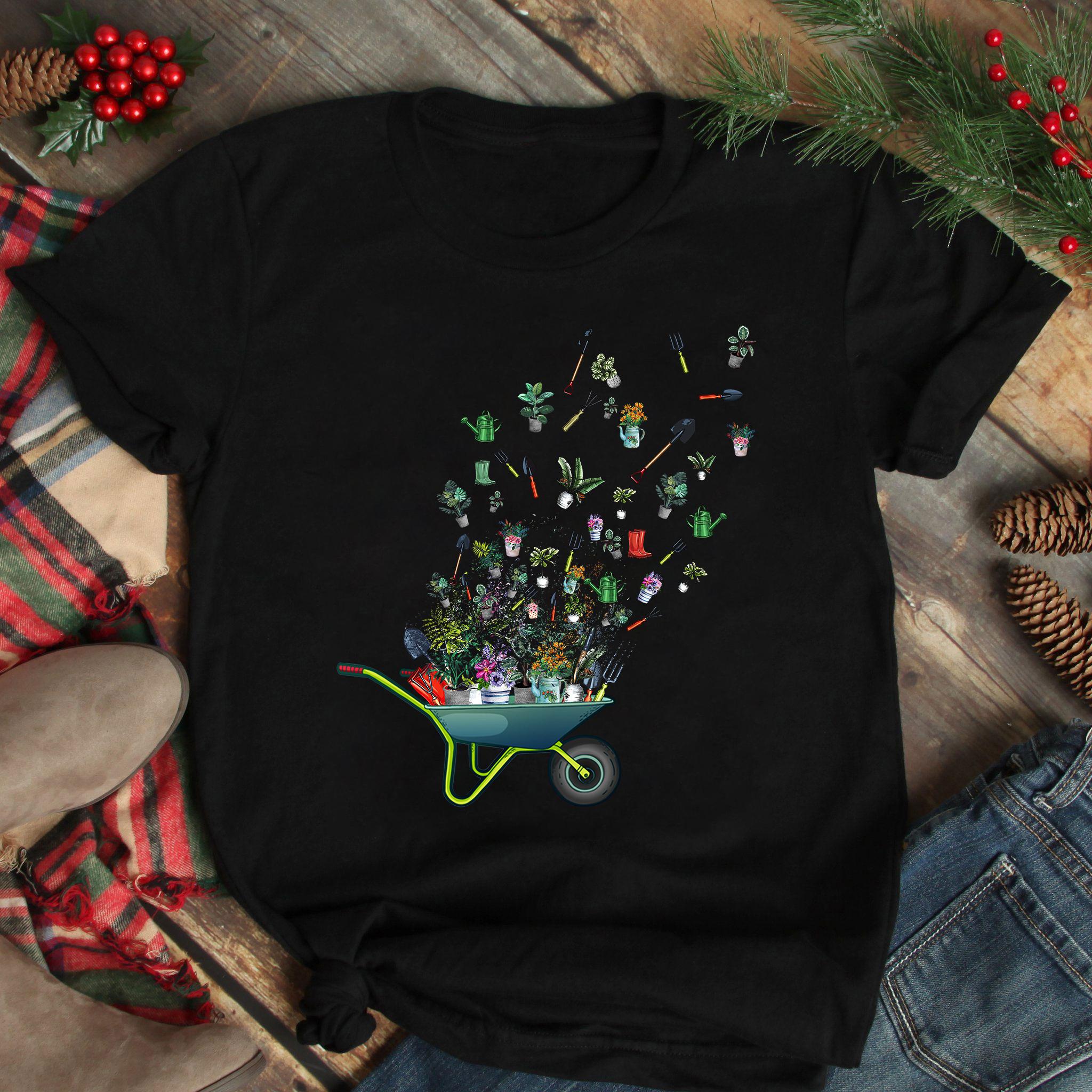Garden Shirt Wheelbarrow Gardening Tools Flying