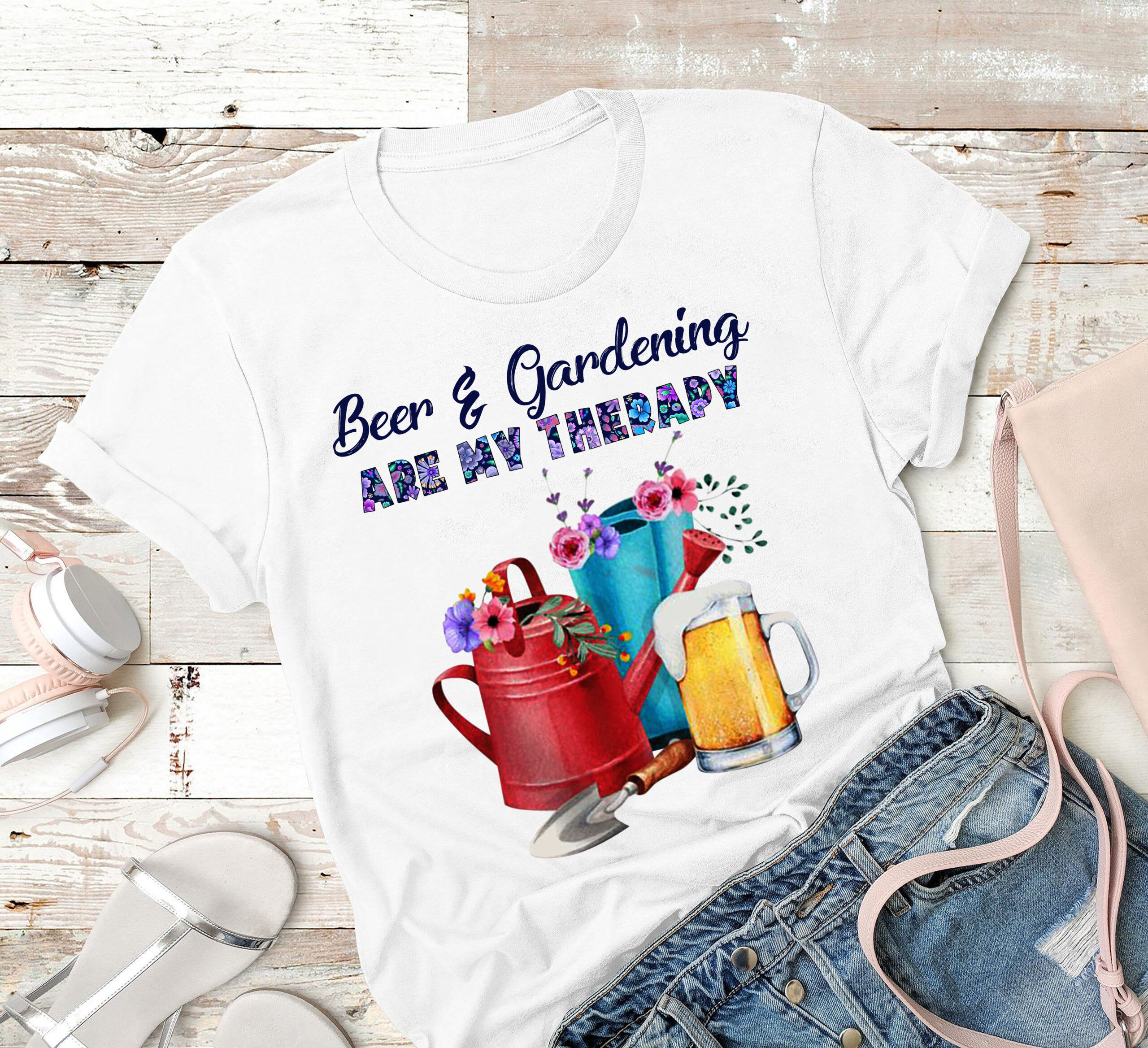 Gardener Shirt Beer & Gardening Are My Therapy