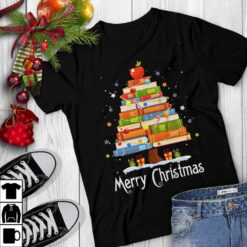Librarian Shirt Book Pine Merry Christmas