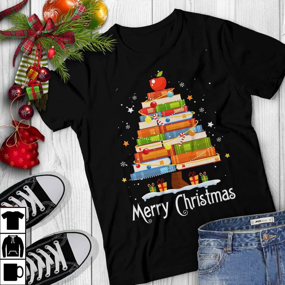 Librarian Shirt Book Pine Merry Christmas