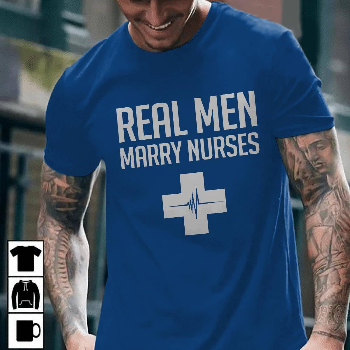 Nurse Husband Shirt Real Men Marry Nurse Red Cross