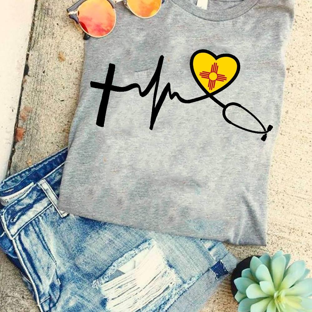 Nurse Shirt Heartbeat Stethoscope Red Cross